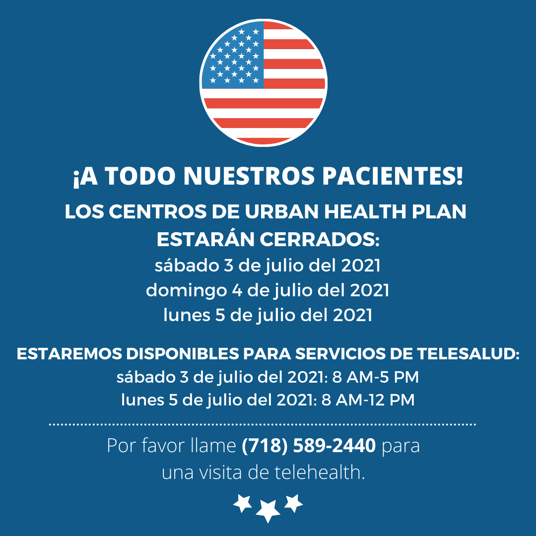 graphic describes holiday and telehealth schedule for July 3, 4, 5 2021